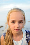 Portrait of little cute girl on sunset Royalty Free Stock Image