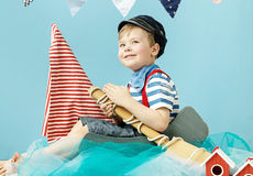 Portrait of a little cute sailor royalty free stock image