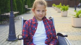 Portrait of a disabled child in a chair Royalty Free Stock Images