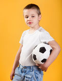 Portrait of a little football fan boy Royalty Free Stock Image
