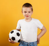 Portrait of a little football fan boy royalty free stock images