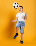 Portrait of a little football fan boy Royalty Free Stock Photography