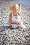 Portrait of a little gir on the beach Royalty Free Stock Images