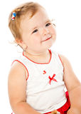 Portrait of little girl. Isolated on white background Stock Photo