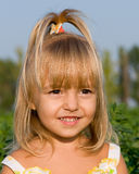 Portrait of the little girl. In the field Royalty Free Stock Photo