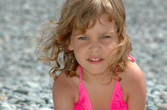 Portrait of the little girl. On a beach Royalty Free Stock Images