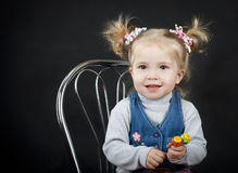 Portrait of little girl with. Ponytail hairstyle stock photo