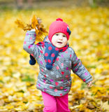 Portrait of a little girl in autumn park Stock Images