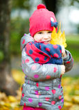 Portrait of a little girl in autumn park Royalty Free Stock Photo