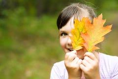 Portrait of a little girl in autumn park Stock Photos