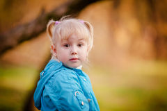 Portrait of little girl in autumn park Stock Images