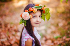 Portrait of little girl in autumn park Royalty Free Stock Photos