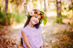Portrait of little girl in autumn park Stock Photography