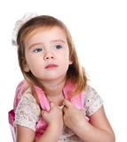 Portrait of little girl with a backpack Stock Images