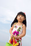 Portrait of little girl on beach Stock Photo