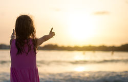 Portrait of little girl on the beach. Royalty Free Stock Photo