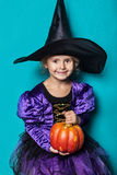 Portrait of little girl in black hat and witch clothing with pumpkin. Halloween. Fairy. Tale. Studio portrait on blue background Royalty Free Stock Photos