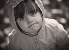 Portrait of a little girl. black and white stock photography
