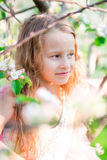 Portrait of little girl in blooming apple tree garden on spring day Royalty Free Stock Photography