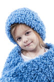 Portrait of little girl in blue winter clothes Stock Photo