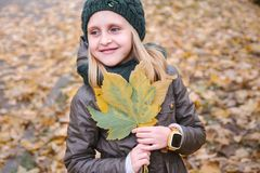 Portrait of a little girl with a bouquet of autumn leaves against the background of fallen leaves in the park stock photography