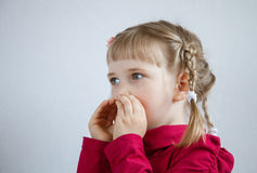 Portrait of a little girl calling somebody Stock Images