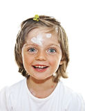 Portrait of little girl with chickenpox Stock Images