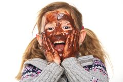 Little Girl with Chocolate Covered Face Stock Photos