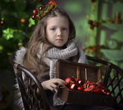 Portrait of a little girl with Christmas decorations Stock Photo