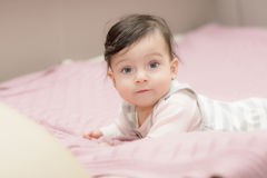 Portrait of little girl close up. stock photo
