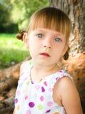 Portrait of a little girl. Closeup portrait of a cute little girl outdoors Stock Photography