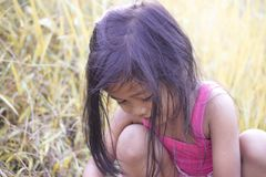 Portrait of little girl in park stock photography