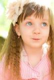 Portrait of a little girl. Closeup summer portrait of a little girl outdoors Stock Photos