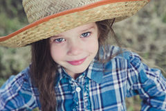 Portrait little girl Cowboy royalty free stock photos