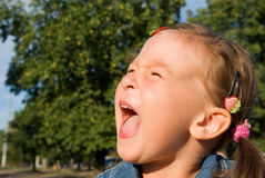 Portrait of a little girl crying. Portrait of a loudly crying child Stock Image