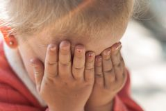 Portrait of a  little girl crying. Portrait of a cute little girl crying Royalty Free Stock Image
