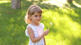 Portrait of a little girl with a dandelion in Park. Happy child blowing dandelion flower outdoors. Girl having fun in spring park. Sunny portrait of cute little stock video