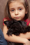 Portrait of a little girl with dog Stock Photography