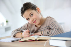 Portrait of little girl doing homework. Portrait of 8-year-old girl doing homework Stock Images