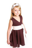 Portrait of little girl in a dress on a white background Royalty Free Stock Images