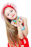 Portrait little girl and easter eggs Royalty Free Stock Photos