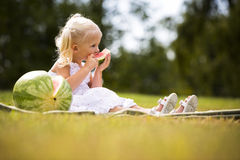 Portrait of a little girl eating watermelon Royalty Free Stock Images