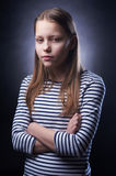 Portrait of a little girl with evil face Royalty Free Stock Photo