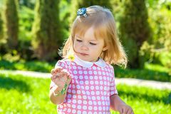 Portrait of a little girl with flower Royalty Free Stock Images