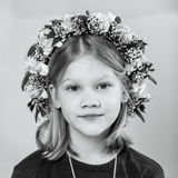 Portrait of a little girl with garland Royalty Free Stock Image