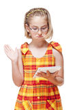 Portrait of a Little Girl with Glasses Holding Tablet Royalty Free Stock Image