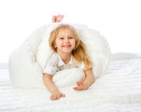 Portrait of a little girl goes to bed, bed, sleep, rest Royalty Free Stock Images
