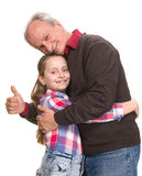 Portrait of a little girl with grandfather Royalty Free Stock Images