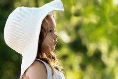 Portrait Little girl in hat Stock Photos