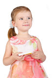 Portrait of little girl holding box with chocolate Stock Images